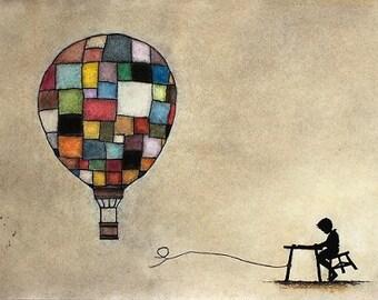 """Art print // Hot air balloon - boy silhouette // """"I'm gonna be a hot air balloon captain when i grow up"""""""