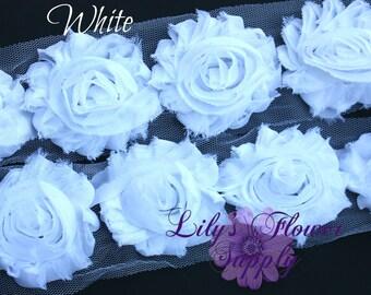 White Shabby Rose Trim - Shabby Flower trim - Shabby Trim - Chiffon Trim - Shabby Chic - Rose Trim - Wholesale Trim - 1 Yard