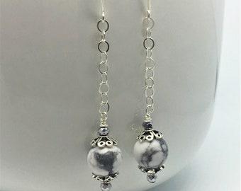 Howlite Drop Earrings Sterling Silver Earrings Mothers Day Gift Gift for Her Birthday Gift Crystal Earrings Bead Earrings