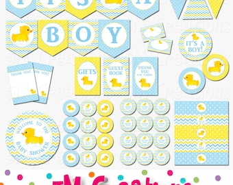 Rubber Ducky Baby Shower Decorations - Rubber Duck Baby Shower Printables  -Boy Rubber Duck Birthday Party Banner INSTANT DOWNLOAD Pdf
