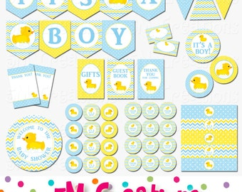 Rubber Ducky Baby Shower Decorations   Rubber Duck Baby Shower Printables   Boy Rubber Duck Birthday