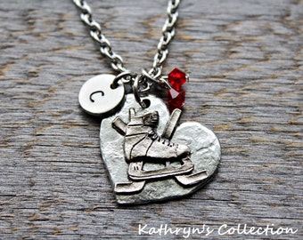 Hockey Necklace, Hockey Jewelry, Ice Hockey Necklace, Hockey Mom, Gift for Hockey Player, Your Team Colors