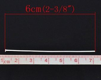300 pcs. Silver Plated Flat Head Pins - 60mm x 0.7mm - 21 Gauge - 2.36 inch long
