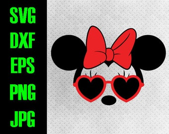 Minnie Sunglasses - svg, dxf, eps, png, jpg cutting files - cricut, silhouette iron on Disneyland Disneyworld Minnie Mouse Heart Sunglasses