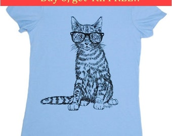 Funny Tshirts for Women | Bella Canvas Shirt | Hipster Cat Tees | Nerdy TShirt | Short Sleeve | Graphic Tees for Women | Geek Cat Tee Shirts