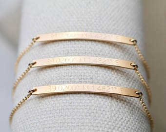 14K SOLID GOLD GPS Coordinates Bracelet - Skinny & Dainty Bar Bracelet, Personalized Bar Bracelet, Custom Engraved Bar Bracelet