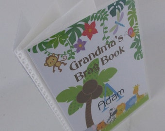 Boy photo album grandmas brag book girl photo album personalized photo album shower gift Jungle Animal 4x6 or 5x7 picture book 474