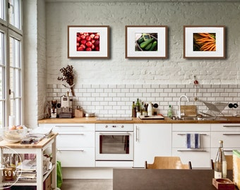 Kitchen Decor Food Photography - Set of Three Prints of Nectarines, Zucchini, and Carrots - 8x10 or 11x14 Fine Art Prints