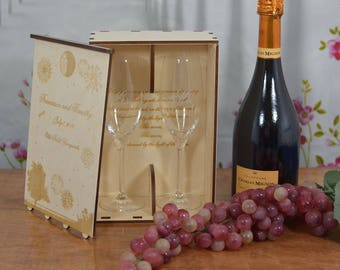 Personalized Wood Wedding Champagne Flute Gift Box with 2 Custom Etched Crystal Flutes