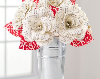 Grow Old with Me PAPER FLOWERS w Red Damask Leaves, Handmade Paper Roses Arrangement, Paper Anniversary, Engagement Gift, Mother's Day Gift