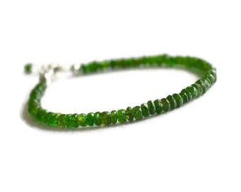 Chrome Diopside bracelet, green gemstone bracelet, chrome diopside jewelry, green silver bracelet
