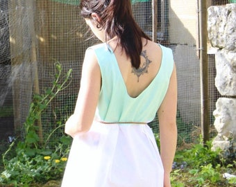 Frilly retro tunic and backless, tunic, white and green, tunic, tunic of pregnancy