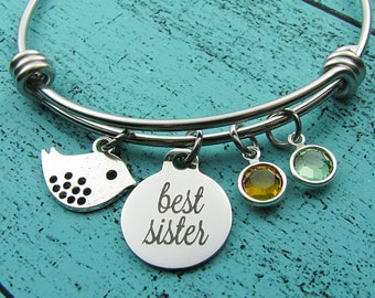 best sister bracelet, birthday gift for sister, bird bracelet, best friend gift, sister graduation gift, sister jewelry, birthstone jewelry