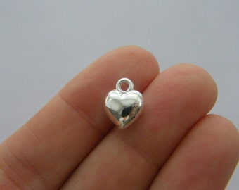 10 Heart charms silver plated tone H159