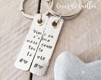 """Duo of """"hidden message"""" personalized Keyring"""
