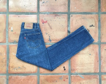 Vintage Levis 501 Jeans- High Waist Straight Leg, Medium Wash Button Fly, Distressed Boyfriend Jeans Sz 29