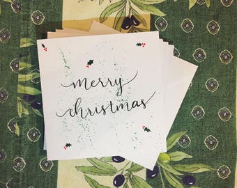 Watercolour Christmas Card, Pack of 5