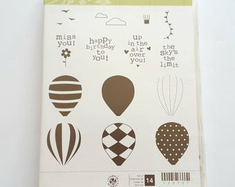STAMPIN' UP! *Up Up and Away* 14 Clear Mount Rubber Stamps. Hot Air Balloon. The Sky's the Limit. Miss You. Up In The Air. Happy Birthday.