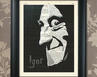Young Frankenstein, Igor print, Igor art, Igor poster, Frankenstein Print, Frankenstein art, Frankenstein decor, Marty Feldman, Mel Brooks