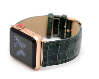 Leather Apple Watch Band 38mm and 42mm, Dark Green Leather, gift for her and gift for him, Made in Italy, iWatch Strap Apple Series