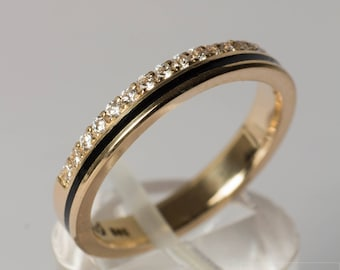 Memory/Alliance Ring of 585 gold with diamonds and enamel