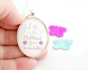 immortality quote necklace, Goethe quote immortality, life quote necklace, inspirational quote jewelry