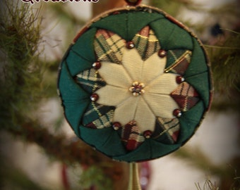 Handmade Quilted & Beaded Christmas Ball Ornament Green Burgundy White