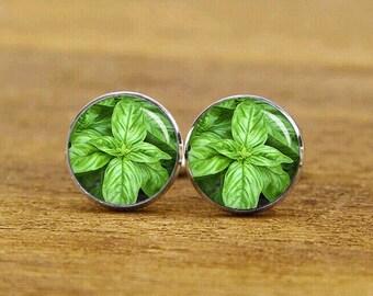 Basil Italian Large Leaf Cuff Links, Basil Leaves cufflinks, basil leaf cuff links, Custom Wedding Cufflinks, Fashion Wedding Gift Jewelry
