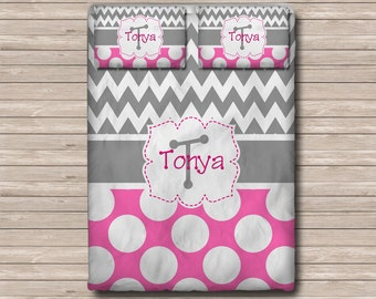 REVERSIBLE Personalized Monogram  Soft Duvet Cover OR Comforter - Toddler, Twin, Twin xl, Queen, or King - Chevron Polka dots