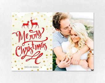 Digital Photoshop Christmas Card Template for photographers PSD Flat card - Christmas Card - PSD Template - 021