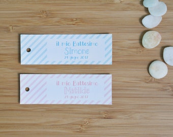 Boy and Girl Stripes Baptism Tags