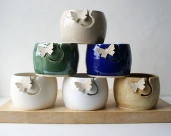 Choose your colour - Butterfly yarn bowl, hand thrown custom pottery yarn bowl
