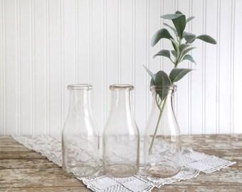 Vintage One Pint Milk Bottles, Set of 3 Milk Bottles, Vintage Farmhouse Decor, Vintage Glass Milk Bottles