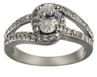 Diamond Engagement Ring 3/4 Carat Oval Center Split Shank 14K White Gold Pave Diamond Ring