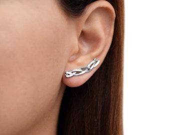 Serling silver earcuff earrings, silver ear climber earrings, quirky ear sweeps, ear cuff earrings, ear crawlers