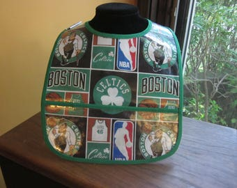WATERPROOF WIPEABLE Baby to Toddler Plastic Coated Bib Boston Celtics Basketball