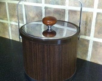 Vintage Ice Bucket with handle/1970's/ATAPCO barware/gift