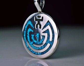 """Sterling silver Man in Maze """" I'Itoi """" pendant with crushed Kingman Turquoise inlay"""