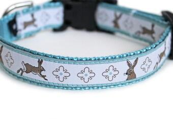 Rabbit Dog Collar, Cute Dog Collar, White, Light Blue, Small Dog Collar, Mosaic, Easter Dog Collar, Hare, Boy Dog Collar - Bunny Trail