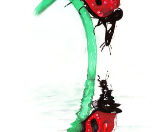 Ladybirds - Art Print from mixed media original
