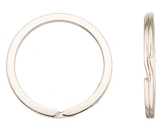 10pcs 35mm flat round platinum finished steel split ring