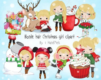 Blonde hair Christmas girl Clip art instant download PNG file - 300 dpi