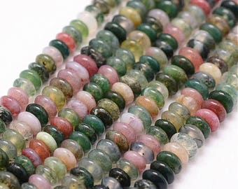 Indian Agate bead, donut 2x4mm, hole: 0.8 mm sold per 20
