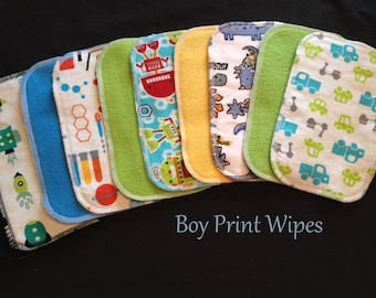 Cloth Baby Wipes, Family Cloth, Reusable Wipes, Assorted Boy Prints, Pack of 50 Cloth Wipes, Baby Boy Shower Gift