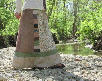 Handmade earthy floral calico patchwork recycled vintage fabric long skirt