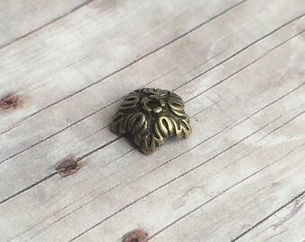 4 ou 10 pièces 5 pétales perle caps, tonalité en bronze 10mm de diamètre