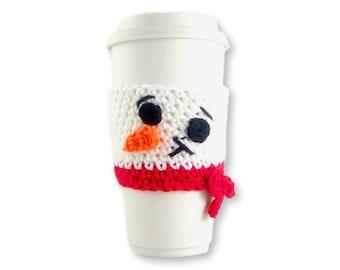 Crochet PATTERN, Snowman Travel mug sleeve / Red scarf  / coffee mug cozy / travel cup sleeve / travel mug cozy / coffee cup sleeve