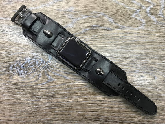 Apple Watch Band, Apple Watch Strap, Black, Leather Cuff Watch Band, Skull head, iwatch, full bund Strap, apple watch 38mm, Apple Watch 42mm