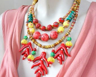Tropical Floral Necklace / Bold Chunky Jewelry / Colorful Statement Flower Necklace /Tropical Summer Jewelry / Layered Nature Inspired