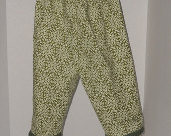 Toddler Bloomers in green with white cotton - size 3T